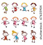 happy little girls silhouettes... | Shutterstock .eps vector #67635904