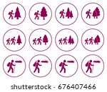 set of hiking icon illustration ... | Shutterstock .eps vector #676407466