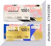 trendy elegant gift voucher... | Shutterstock .eps vector #676410388