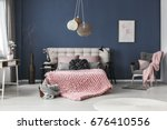 bright spacious room with cute... | Shutterstock . vector #676410556