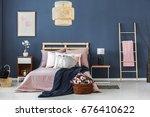big wicker lampshade hanging...   Shutterstock . vector #676410622