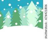 snow pine forest vector... | Shutterstock .eps vector #676421806