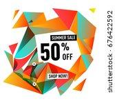 summer sale geometric style web ... | Shutterstock .eps vector #676422592
