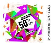 summer sale geometric style web ... | Shutterstock .eps vector #676431238