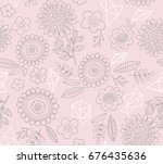 vector hand drawn floral... | Shutterstock .eps vector #676435636