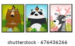 posters with animals. cartoon... | Shutterstock .eps vector #676436266