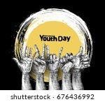 international youth day 12... | Shutterstock .eps vector #676436992