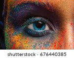 crop of female eye with... | Shutterstock . vector #676440385