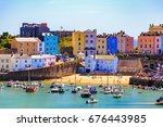 tenby  wales   june 18th 2017 ... | Shutterstock . vector #676443985