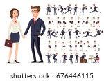 set girl and boy business... | Shutterstock .eps vector #676446115