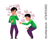 young man crying from laughter  ... | Shutterstock .eps vector #676451002