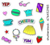 set of cute stickers with... | Shutterstock .eps vector #676452985
