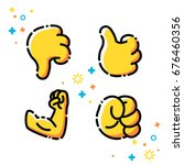 Vector Flat Line Emoji Icons...