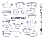 doodle set of kitchen cook ware ... | Shutterstock .eps vector #676472515