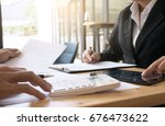 business man analysis on data... | Shutterstock . vector #676473622