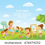 children's activities  at the... | Shutterstock .eps vector #676474252