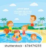 kids in swimming pool swimming... | Shutterstock .eps vector #676474255