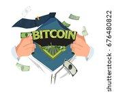"""man open shirt to show """"bitcoin""""...   Shutterstock .eps vector #676480822"""