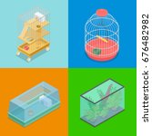 isometric pet carriers with... | Shutterstock .eps vector #676482982