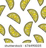 lemon slices summer seamless... | Shutterstock .eps vector #676490035