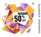 summer sale geometric style web ... | Shutterstock .eps vector #676494742