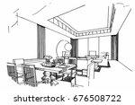 sketch perspective interior....   Shutterstock .eps vector #676508722