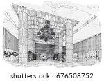sketch perspective interior....   Shutterstock .eps vector #676508752