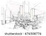 sketch perspective interior.... | Shutterstock .eps vector #676508776