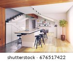 modern attic kitchen interior.... | Shutterstock . vector #676517422