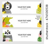vector set of banners with cute ... | Shutterstock .eps vector #676530538