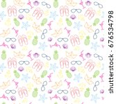 summer seamless pattern with... | Shutterstock .eps vector #676534798