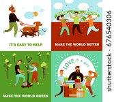 volunteers design concept with... | Shutterstock .eps vector #676540306