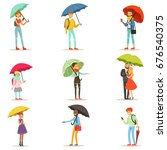 People With Umbrellas. Smiling...