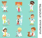 adorable kids playing doctor... | Shutterstock .eps vector #676540786