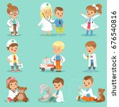 cute kids playing doctor set.... | Shutterstock .eps vector #676540816
