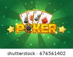 logo text poker and playing... | Shutterstock .eps vector #676561402