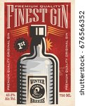 finest gin retro poster ad with ... | Shutterstock .eps vector #676566352