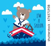 sailor teddy bear vector... | Shutterstock .eps vector #676571938