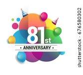81st years anniversary logo ...   Shutterstock .eps vector #676580302