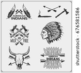 set of american indian labels ... | Shutterstock .eps vector #676581586