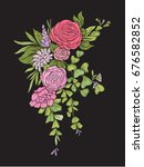 floral composition. embroidery   Shutterstock .eps vector #676582852
