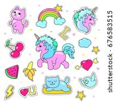 patch badges with hearts ...   Shutterstock . vector #676583515