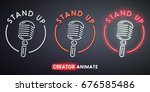 stand up neon sign. creator... | Shutterstock .eps vector #676585486