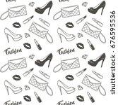 female fashion set. seamless...   Shutterstock .eps vector #676595536