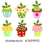 Christmas set of sweet cupcakes decorated with holly berry - stock vector