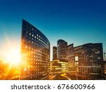modern buildings in paris... | Shutterstock . vector #676600966