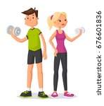 fitness couple. sporty man and... | Shutterstock .eps vector #676601836