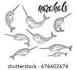 set of hand drawn cartoon funny ... | Shutterstock .eps vector #676602676