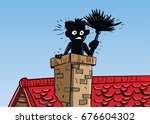 chimney sweep cartoon | Shutterstock .eps vector #676604302