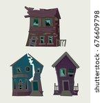 old abandoned houses  vector... | Shutterstock .eps vector #676609798